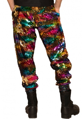 Gold Rainbow Sequin Joggers