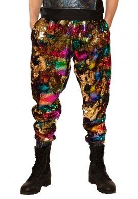 Gold Rainbow Sequin Joggers