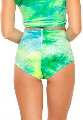 Sea Blue Green Tie Dye High Waist Shorts