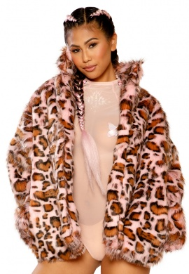 Pink Leopard Hip Length Coat