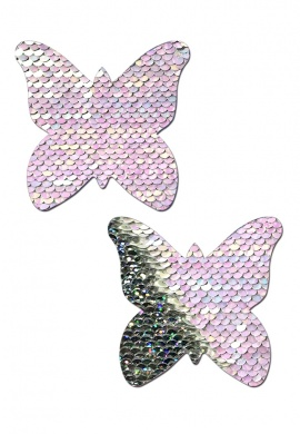 Pearl and Silver Reversible Sequin Butterfly Pasties