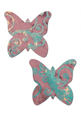 Sequin Velvet Lilac Monarch Butterfly Pasties