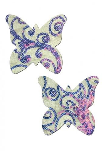 Sequin Velvet White Monarch Butterfly Pasties