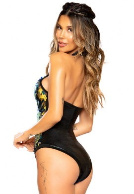 Black Tear Drop Halter Neck Sequin Romper