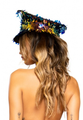 Holographic Black Sequin Hat
