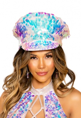 Baby Pink Holographic Sequin Captains Hat