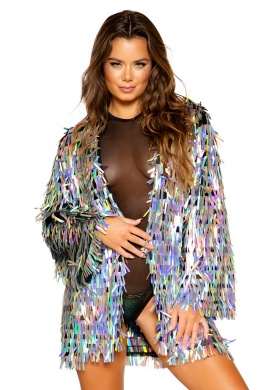Holographic Silver Rain Drop Jacket