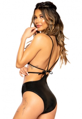 Black Iridescent Sequin Strappy O-Ring Romper