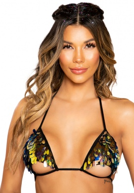Black Gold Sequin Bikini Top with Underboob Cutout