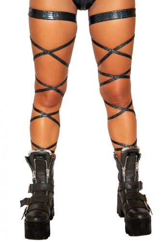 Black Snake Skin Leg Wraps