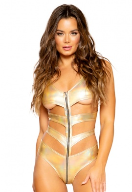 Metallic Gold Cutout Romper with Zippers