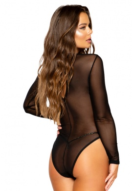 Black Long Sleeved Sheer Romper