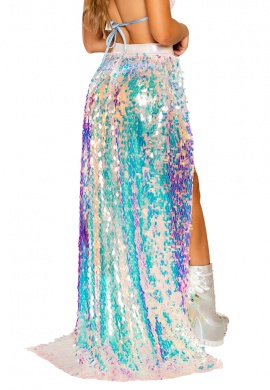 Baby Pink Hologram Open Banded Sequin Skirt