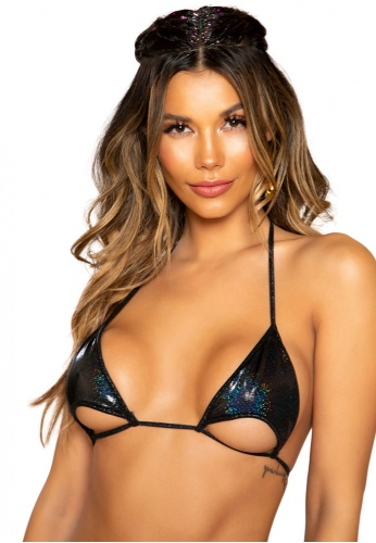 Black Sparkle Cutout Bikini Top