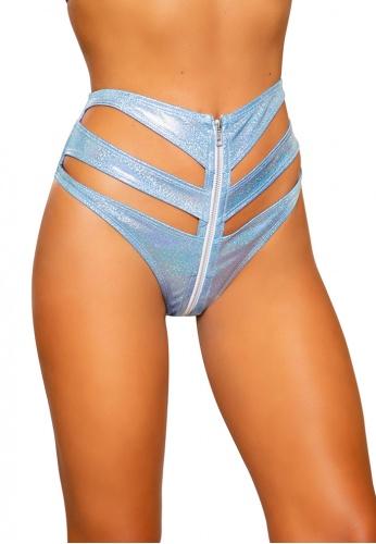 Baby Blue Sparkle Cutout High-Waisted Shorts
