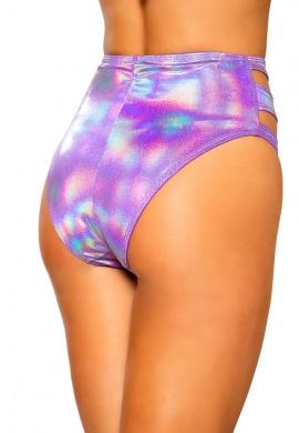 Purple Sparkle Cutout High-Waisted Shorts