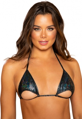 Black Snake Skin Cutout Bikini Top with Cutout