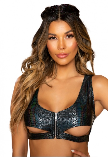 Black Snake Skin Crop Top with Cutout