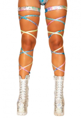 Rainbow Splash Leg Wraps with Attached Garter