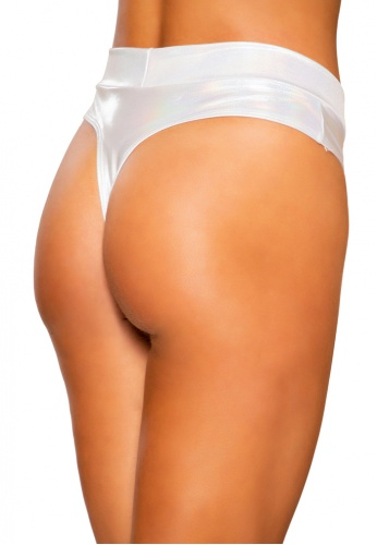 White Shimmer High Rise Shorts