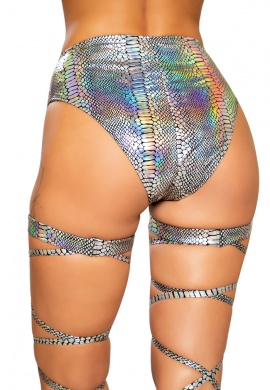 Silver Snake Skin High-Waist Shorts with Zipper