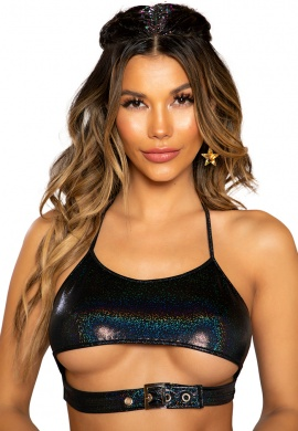 Black Shimmer Crop Top with Underboob and Buckle Closure