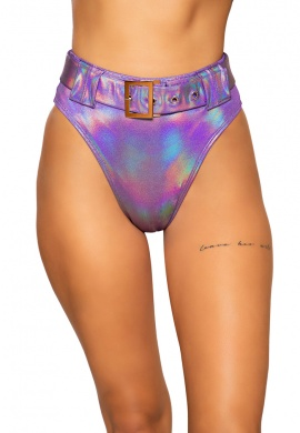 Purple Shimmer High Rise High Waist Shorts with Belt