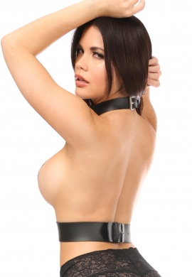 Black Vegan Leather Choker Harness