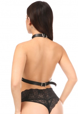 Black Vegan Leather Strapped Harness