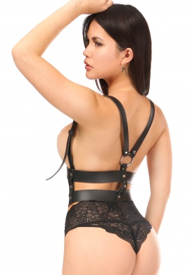 Black Vegan Leather Horizontal Harness