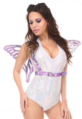 Lavender Holo Butterfly Wing Harness