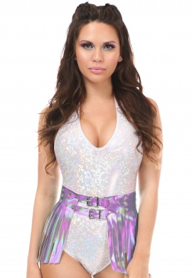 Lavender Hologram Fringe Mini Skirt