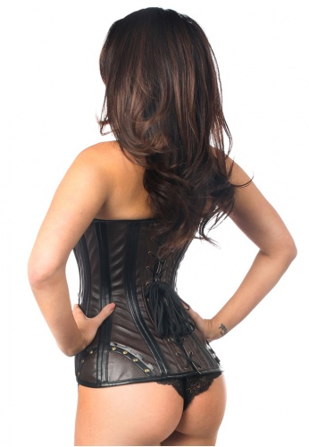 Black Faux Leather Steel Boned Corset with Rivets