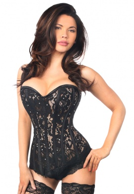 Black Lace Steel Boned Corset with Rhinestones