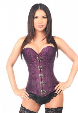 Plum Brocade Steel Boned Corset with Clasp Closure