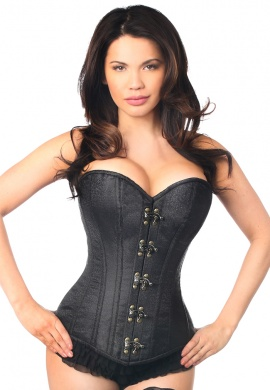 Black Brocade Steel Boned Corset with Clasp Closure