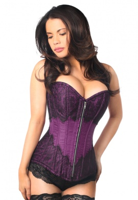 Plum Brocade Steel Boned Corset with Black Eyelash Lace