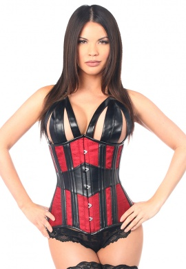 Red and Black Faux Leather and Brocade Steel Boned Underbust Corset