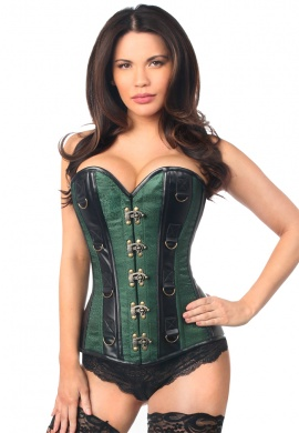Dark Green Brocade & Faux Leather Steel Boned Corset