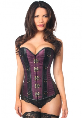 Plum Brocade and Faux Leather Steel Boned Corset