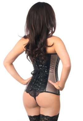 Gunmetal Brocade and Faux Leather Steel Boned Corset