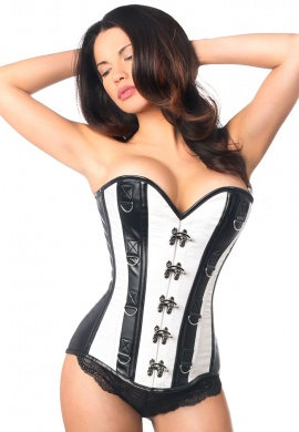 White Brocade and Faux Leather Steel Boned Corset