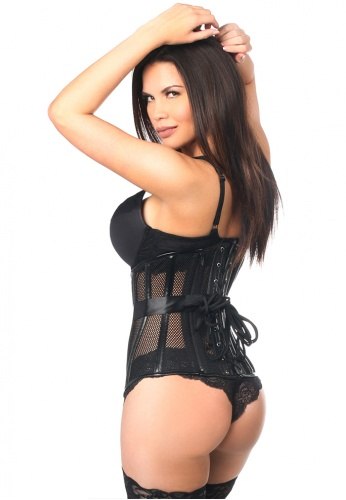 Black Fishnet and Faux Leather Steel Boned Underbust Corset