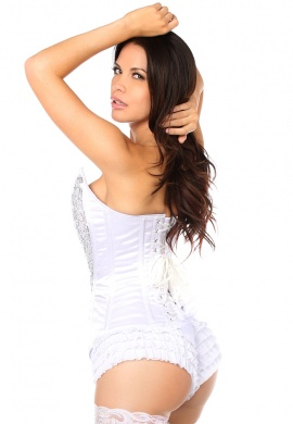 White and Silver Sequin Pointed Top Steel Boned Corset