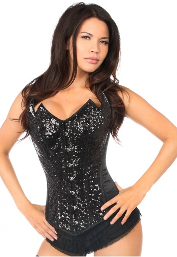 Black Sequin Pointed Top Steel Boned Corset