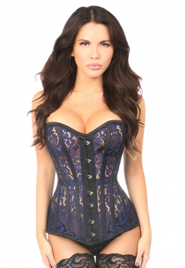 Sheer Navy Blue Lace Steel Boned Corset