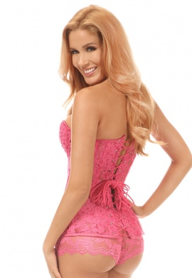 Bright Pink Underwire Sheer Lace Steel Boned Corset