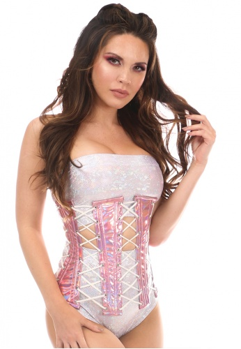 Pink Holo Under Bust Corset with Lacing