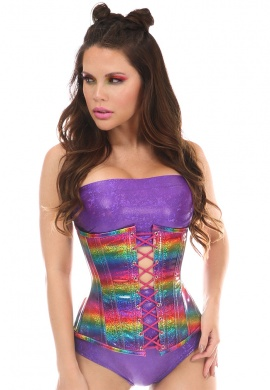 Rainbow Glitter Under Bust Corset