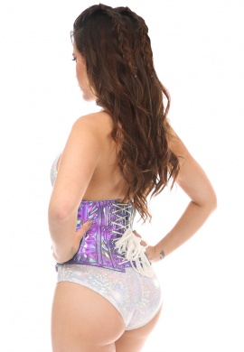 Lavender Holo Short Under Bust Corset